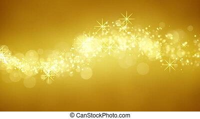 partikeln, glitzer, loopable, gold, welle