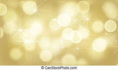partikeln, lichter, bokeh, gold, schleife