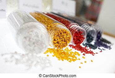 partiklar, färgrik, plastisk, polymer