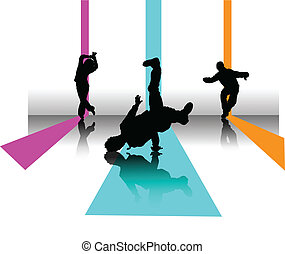 partir, 3, dançarino, ilustração