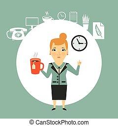partir, almoço, ilustração, secretária