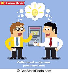 partir, café, colaboração