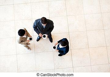 partir, café, tendo, colegas trabalho