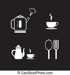 partir, café, vetorial, -, ícones