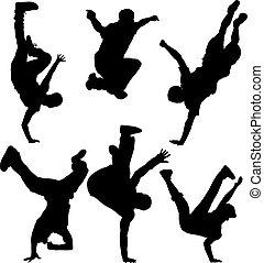 partir, dançarinos, silueta
