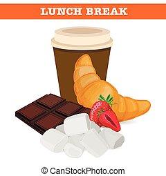 partir, doce, vetorial, illustration., almoço