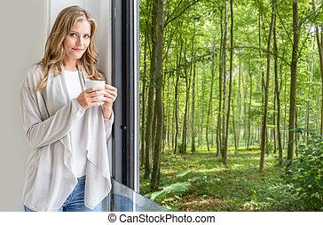 partir, floresta, relaxante, vista