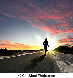 partir, long, aube, route, homme
