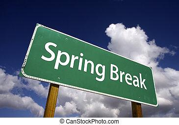 partir, primavera, sinal estrada