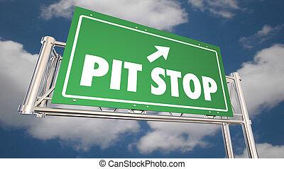 partir, relaxe, parada, descanso, sinal, auto-estrada, ilustração, 3d, cova, estrada, tomar