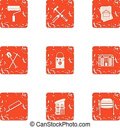 Partition icons set, grunge style - Partition icons set....