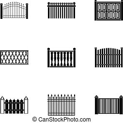 Partition icons set, simple style - Partition icons set....