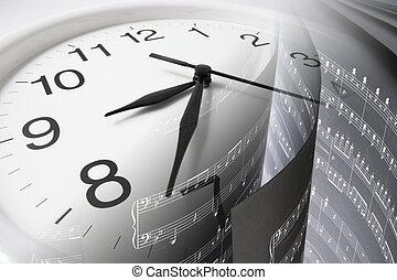 partition, musique, horloge