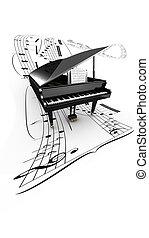 partition., ouvert, voler, long, fond, piano queue, blanc, 3d