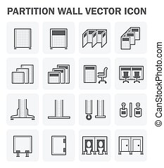 Partition wall icon - Vector icon set of partition wall for...