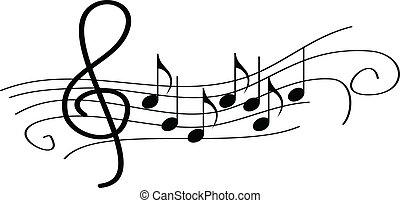 partituras, ligado, aduela