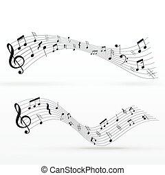 partituras, onda, fundo, desenho