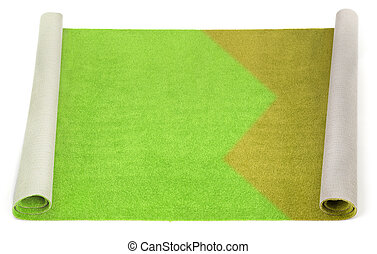 Partly cleaned carpet on white background