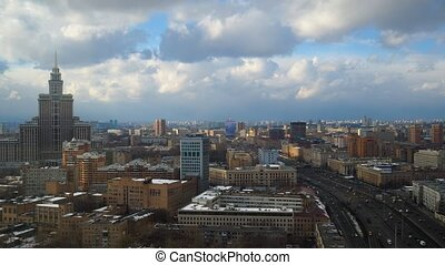 Partly cloudy winter time lapse. Leningradsky prospekt avenue , Moscow. 4K