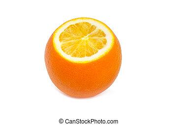 Partly cut orange on a light background