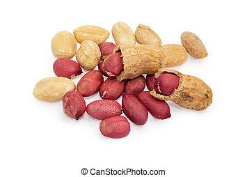 Partly peeled roasted peanuts on a white background