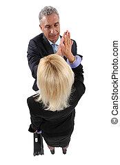 partner affari, dare, altro, uno, alto-cinque