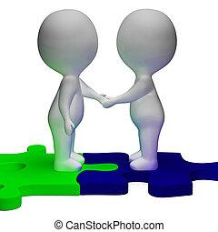 partner, charaktere, hände, 3d, schüttelnd, solidarität, shows