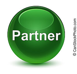 Partner glassy soft green round button