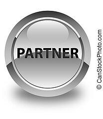 Partner glossy white round button