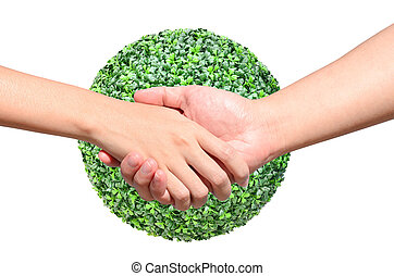 Partner hand between a man and a woman on green planet world