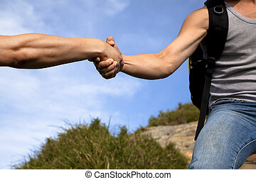 partner., hjælpe ræk, hjælp