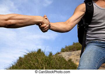 partner., portie hand, helpen