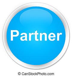 Partner premium cyan blue round button