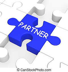 Partner Puzzle Showing Partnership, Teamwork And Relationship