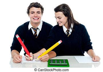 partner, sie, papier, prüfung, korrekturen, machen, m�dchen