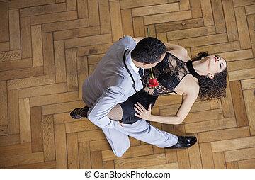 partner, utföre, kvinna, tango, sinnes