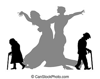 partner, vara, dröm, dansande