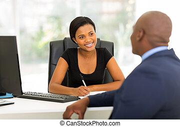partnern, möte, ha, affär