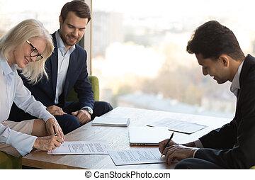 partners, бизнес, контракт, знак, брифинг, счастливый