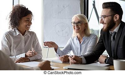 partners, бизнес, сотрудников, ideas, разнообразный, брифинг, discussing