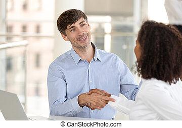 partners, офис, бизнес, успешный, руки, после, разнообразный, поколебать, переговоры