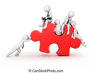 partners, 3d human pushes a puzzle piece, isolated on white