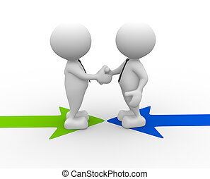 Partners - 3d people - men, person shaking hands on arrows. ...