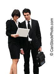 partners, belangrijk, lezende , handel document