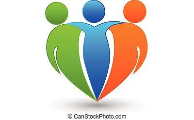 Partners friends teamwork business concept in heart shape logo vector