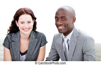 partners, het glimlachen, fototoestel, twee, zakelijk