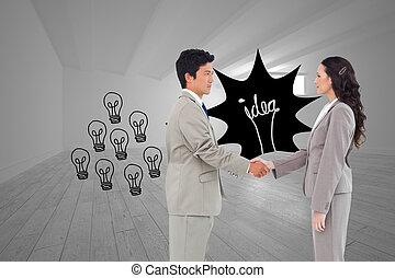 partners, samengestelde afbeelding, hand, handel, rillend,...