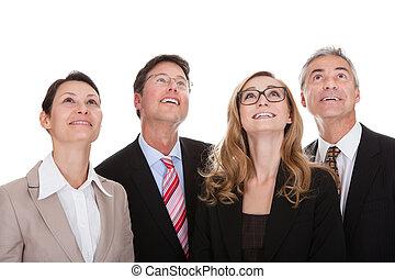 partners, zakelijk, op, vier, het kijken, vrolijke