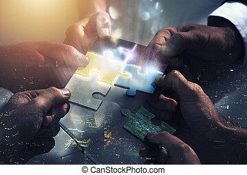 partnerschaft, begriff, arbeitende , startup., puzzle., zusammen, integration, gemeinschaftsarbeit, bauen, geschäftsmänner