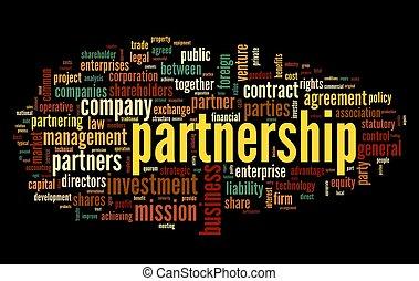 partnerschaft, begriff, in, etikett, wolke